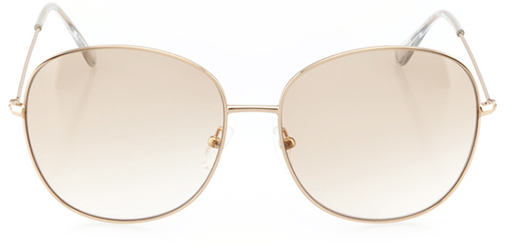 paris: women's rectangle sunglasses in gold - front view