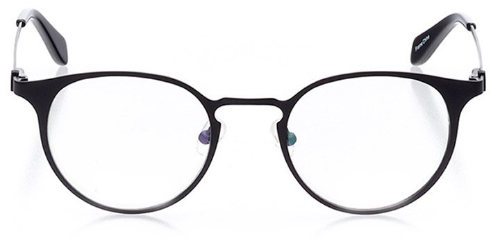 vaduz: unisex round eyeglasses in black - front view