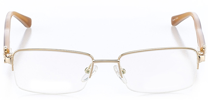 bordeaux: women's rectangle eyeglasses in gold - front view