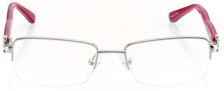 bordeaux: women's rectangle eyeglasses in silver - front view