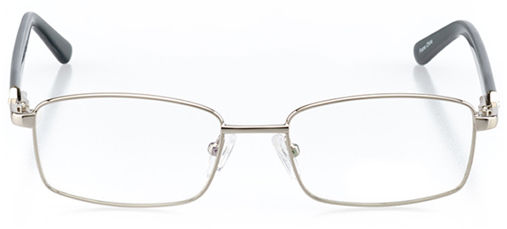 charleston: women's square eyeglasses in silver - front view