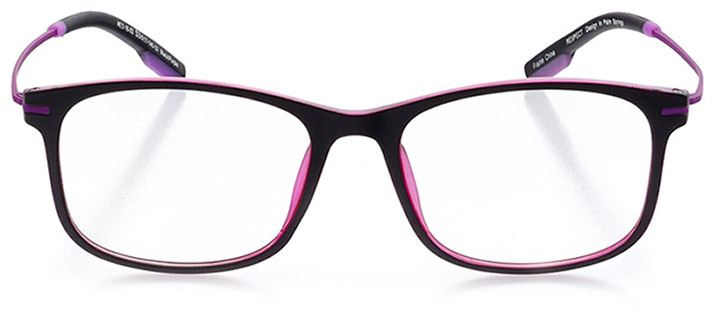 seville: women's square eyeglasses in purple - front view
