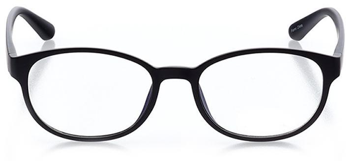 miami beach: women's round eyeglasses in black - front view