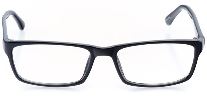 destin: men's rectangle eyeglasses in black - front view