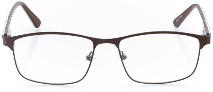 manhattan beach: men's rectangle eyeglasses in brown - front view