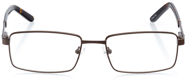 berlin: men's rectangle eyeglasses in brown - front view