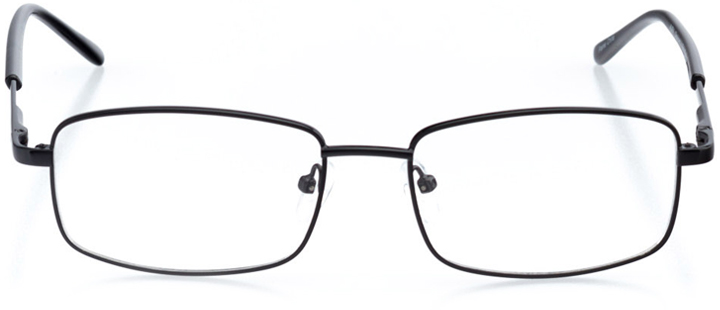 madrid: men's rectangle eyeglasses in black - front view