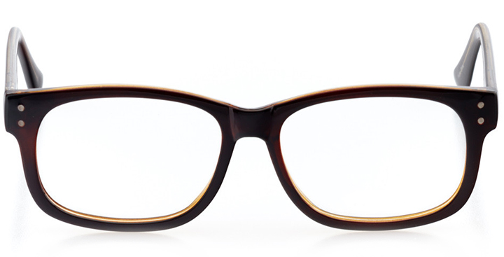 glasgow: square eyeglasses in brown - front view
