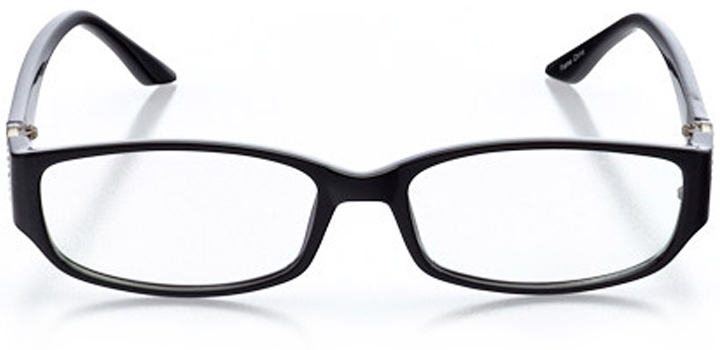 quebec city: women's rectangle eyeglasses in black - front view