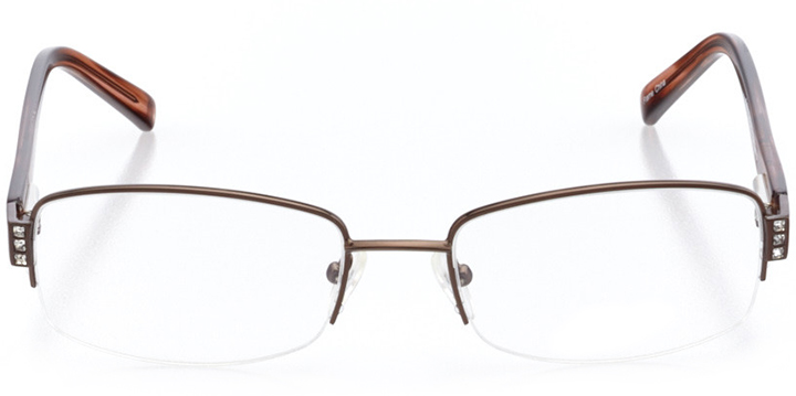 new london: women's rectangle eyeglasses in brown - front view