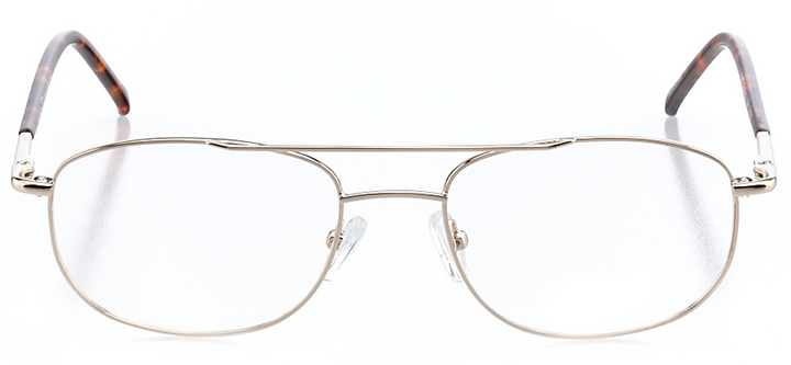 portland: men's square eyeglasses in gold - front view
