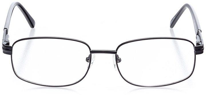 north port: men's rectangle eyeglasses in black - front view