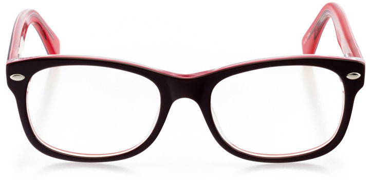 logan: girls' square eyeglasses in pink - front view