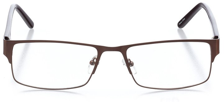 saratov: men's rectangle eyeglasses in brown - front view
