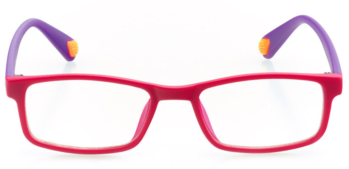 albuquerque: girls' rectangle eyeglasses in pink - front view
