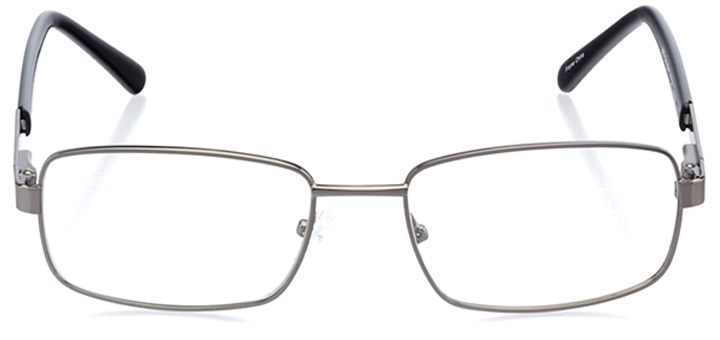 monza: men's rectangle eyeglasses in gray - front view