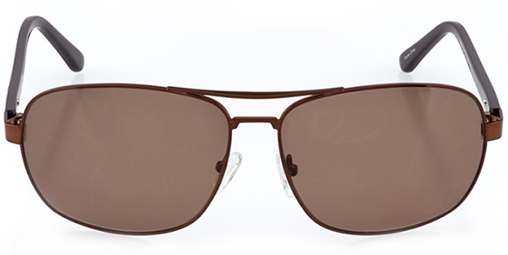 bakersfield: men's rectangle sunglasses in brown - front view
