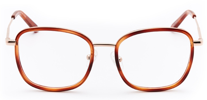 times square: women's square eyeglasses in brown - front view