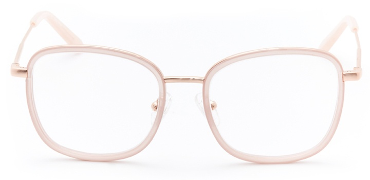 times square: women's square eyeglasses in pink - front view