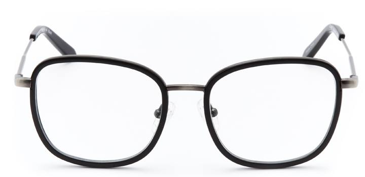 times square: women's square eyeglasses in black - front view