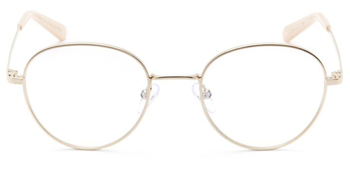 lyon: women's round eyeglasses in gold - front view