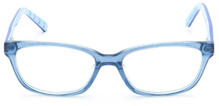 snow queen: girls's rectangle eyeglasses in blue - front view
